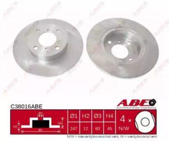 Тормозной диск на OPEL AGILA 'ABE C38016ABE'.