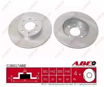 Вентилируемый тормозной диск на SUZUKI SPLASH 'ABE C38017ABE'.