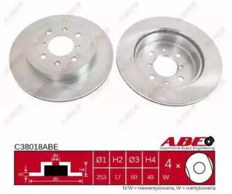 Вентилируемый тормозной диск на Опель Агила 'ABE C38018ABE'.