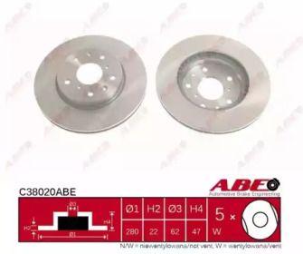 Вентилируемый передний тормозной диск на FIAT SEDICI 'ABE C38020ABE'.