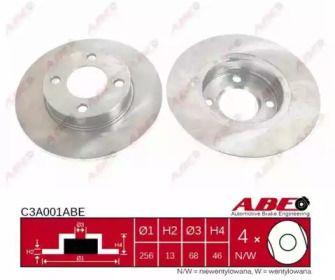 Тормозной диск на Ауди 90 'ABE C3A001ABE'.