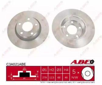 Тормозной диск на AUDI A4 'ABE C3A021ABE'.