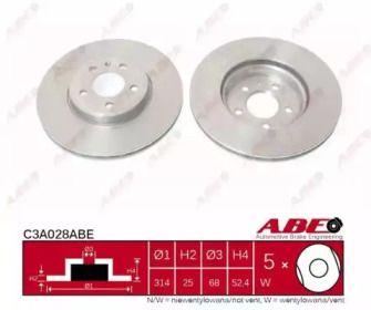 Вентилируемый передний тормозной диск на AUDI A5 'ABE C3A028ABE'.