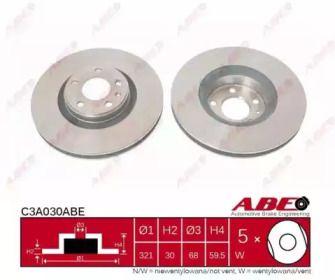 Вентилируемый тормозной диск на Ауди А6 Олроуд 'ABE C3A030ABE'.