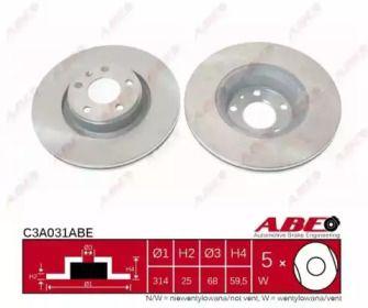 Вентилируемый тормозной диск на AUDI A6 ALLROAD 'ABE C3A031ABE'.