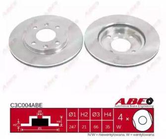 Вентилируемый передний тормозной диск на Пежо 206 'ABE C3C004ABE'.