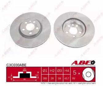 Вентилируемый передний тормозной диск на Ситроен С8 'ABE C3C030ABE'.