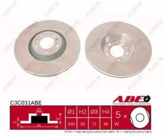 Вентилируемый тормозной диск на Пежо 607 'ABE C3C031ABE'.