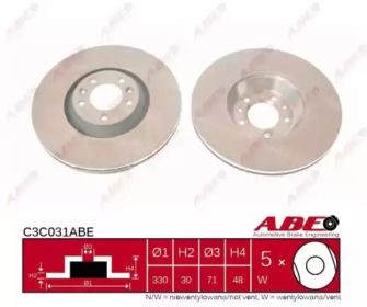 Вентилируемый тормозной диск на CITROEN C6 'ABE C3C031ABE'.