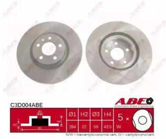 Вентилируемый передний тормозной диск на ALFA ROMEO 147 'ABE C3D004ABE'.