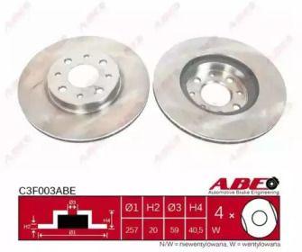 Вентилируемый тормозной диск на FIAT GRANDE PUNTO 'ABE C3F003ABE'.
