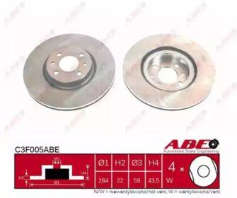 Вентилируемый передний тормозной диск на Лянча Либра 'ABE C3F005ABE'.