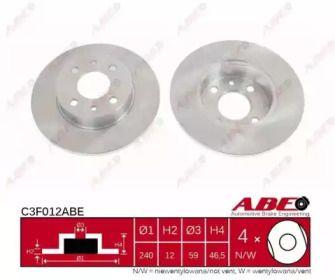 Тормозной диск на FIAT UNO 'ABE C3F012ABE'.