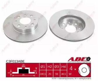 Вентилируемый тормозной диск на Фиат Сена 'ABE C3F013ABE'.