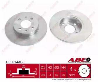 Передний тормозной диск на Фиат Фиорино 'ABE C3F014ABE'.