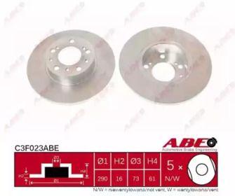 Тормозной диск на CITROEN C25 'ABE C3F023ABE'.