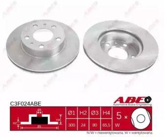 Вентилируемый тормозной диск на FIAT DUCATO 'ABE C3F024ABE'.