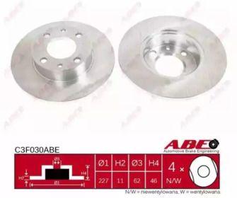 Тормозной диск на LANCIA PRISMA 'ABE C3F030ABE'.
