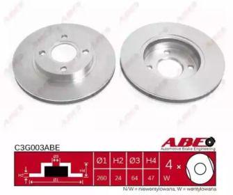 Вентилируемый тормозной диск на Форд Кугар ABE C3G003ABE.