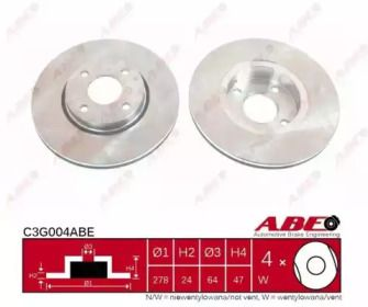 Вентилируемый тормозной диск на Форд Кугар ABE C3G004ABE.