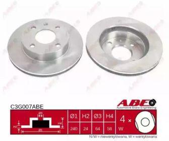 Вентилируемый тормозной диск на FORD ESCORT 'ABE C3G007ABE'.