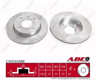 Вентилируемый тормозной диск на MAZDA 121 'ABE C3G010ABE'.