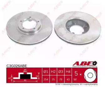 Вентилируемый тормозной диск на FORD TRANSIT TOURNEO 'ABE C3G026ABE'.