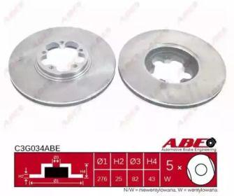 Вентилируемый тормозной диск на Форд Транзит 'ABE C3G034ABE'.