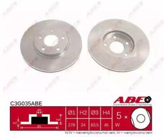 Вентилируемый тормозной диск на FORD TRANSIT CONNECT 'ABE C3G035ABE'.