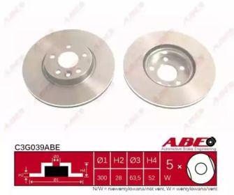 Вентилируемый тормозной диск на FORD S-MAX 'ABE C3G039ABE'.