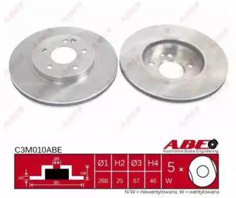 Вентилируемый тормозной диск на Мерседес ЦЛС 'ABE C3M010ABE'.