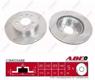 Вентилируемый тормозной диск на Мерседес Вито 'ABE C3M015ABE'.