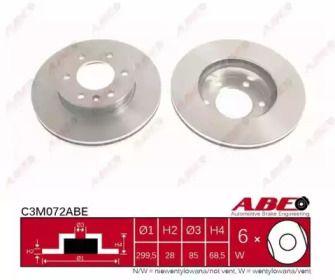 Вентилируемый тормозной диск на VOLKSWAGEN CRAFTER 'ABE C3M072ABE'.