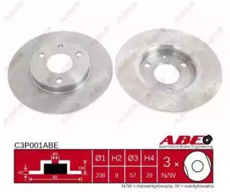 Тормозной диск на CITROEN SAXO 'ABE C3P001ABE'.