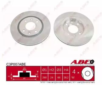 Вентилируемый тормозной диск на PEUGEOT 406 'ABE C3P007ABE'.