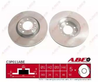 Вентилируемый тормозной диск на PEUGEOT 605 'ABE C3P011ABE'.