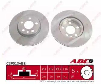 Вентилируемый тормозной диск на Пежо Експерт 'ABE C3P013ABE'.