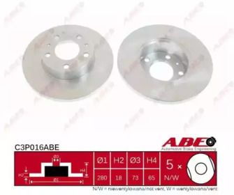 Тормозной диск на Ситроен Джампер 'ABE C3P016ABE'.
