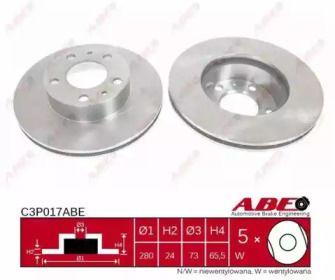 Вентилируемый тормозной диск на Ситроен Джампер 'ABE C3P017ABE'.