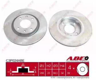 Вентилируемый передний тормозной диск на CITROEN C4 'ABE C3P024ABE'.