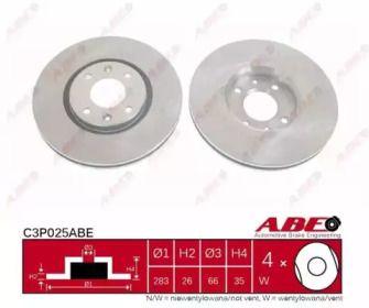 Вентилируемый передний тормозной диск на PEUGEOT 2008 'ABE C3P025ABE'.