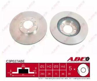Вентилируемый тормозной диск на PEUGEOT 407 'ABE C3P027ABE'.