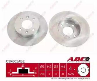 Передний тормозной диск на RENAULT 5 'ABE C3R001ABE'.