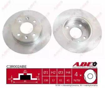Передний тормозной диск на RENAULT SANDERO 'ABE C3R002ABE'.