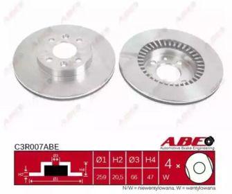 Вентилируемый передний тормозной диск на RENAULT 25 'ABE C3R007ABE'.