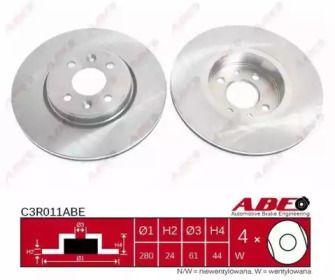 Вентилируемый тормозной диск на Рено Сценик 'ABE C3R011ABE'.