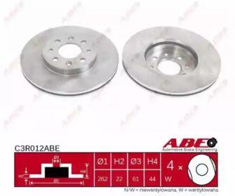 Вентилируемый тормозной диск на Рено Лагуна 'ABE C3R012ABE'.