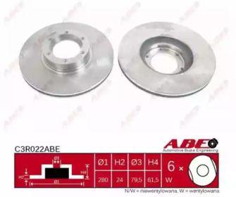 Вентилируемый тормозной диск на OPEL MOVANO 'ABE C3R022ABE'.