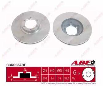 Вентилируемый тормозной диск на RENAULT TRAFIC 'ABE C3R023ABE'.