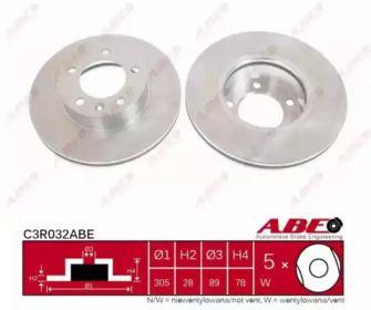 Вентилируемый тормозной диск на Ниссан Интерстар 'ABE C3R032ABE'.